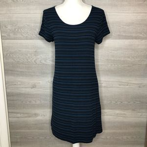 Blue & Black Ribbed Dress by Mossimo Size Medium